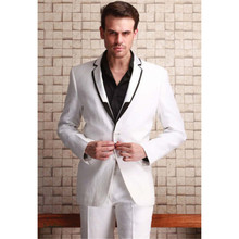 Custom Fashion Small Collar men wedding suits 2017 Slim Fit Formal Party Man Groom Tuxedo White mens suit Blazer (Jacket+Pants)