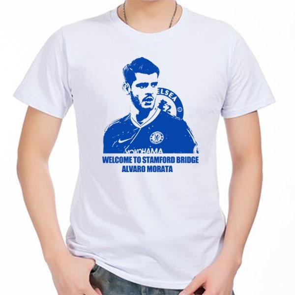the latest 126e8 91f47 US $12.99 |Manica Corta da uomo t shirt Alvaro Morata Madrid Spagna Il  Blues London 100% cotone t shirt fans jersey per la camicia in Manica Corta  da ...
