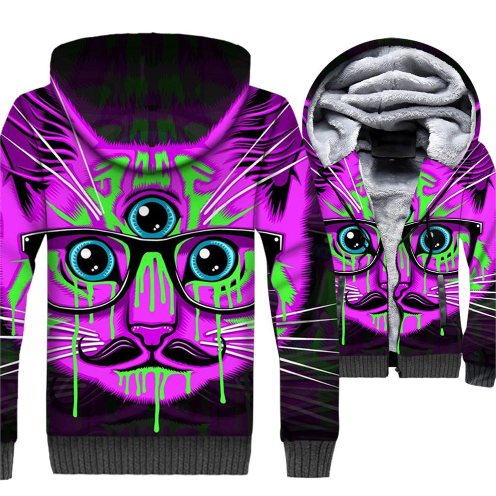 Astronaut Space Cat Punk 3D Hoodies Men 2019 Hot Winter Jacket Warm Mens Sweatshirt Animal Crazy Printed Hip Hop Streetwear