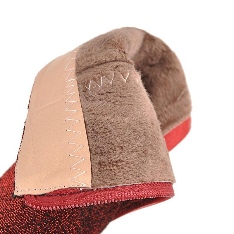 Tamaño Grande De Partido Boda plata Señoras Mujer Nuevas Invierno Del Altos Botas Baile 42 Talones rojo 43 Las Zapatos oro Tobillo Mujeres Los Brillante Negro Tnw5qn7U
