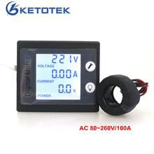 KETOTEK AC 80-260V 0.00-100A AC Voltmeter Ammeter Power Energy Meter Volt AMP Watt kWh Tester with STN Whole Viewing Angle LCD