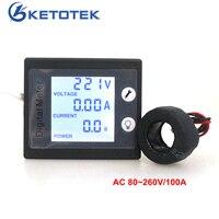 KETOTEK AC 80-260 V 0.00-100A AC Voltmètre Ampèremètre Power Compteur D'énergie Volt AMPÈRE Watts kWh Testeur avec STN Visuelle Angle LCD