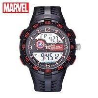 Marvel Avengers männer sport multifunktionsuhr Captain America Iron man abendessen hero kühle gummi LED uhren Disney 81029 5 ATM