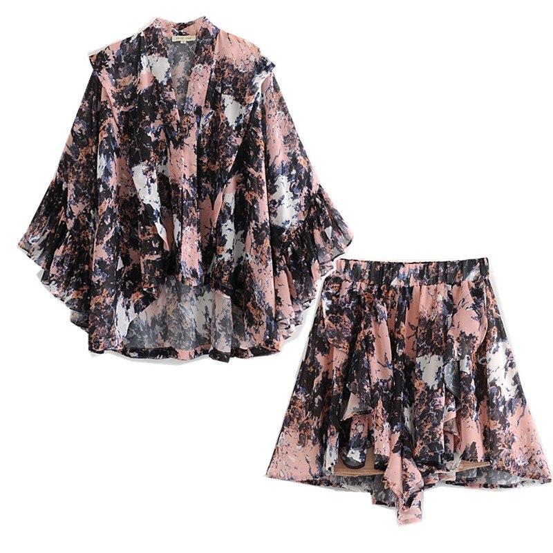 2019 New Summer Totem Floral Print Shirt High Waist Wide Leg Short Pants Women 3/4 Sleeve Flower Blouse Tops Shorts 2 Pieces Set