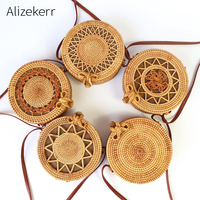 Woven Round Straw Bags For Summer Women Fashoin Handmade Hollow Out Circular Shoulder Beach bag Wicker Rattan Bag Girls Holiaday