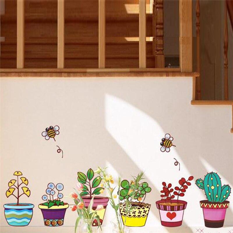 Creative Flowers Plant Pot Baseboard Bee Wall Decals Kids Room Kitchen Room Decor Cartoon Pattern Wall