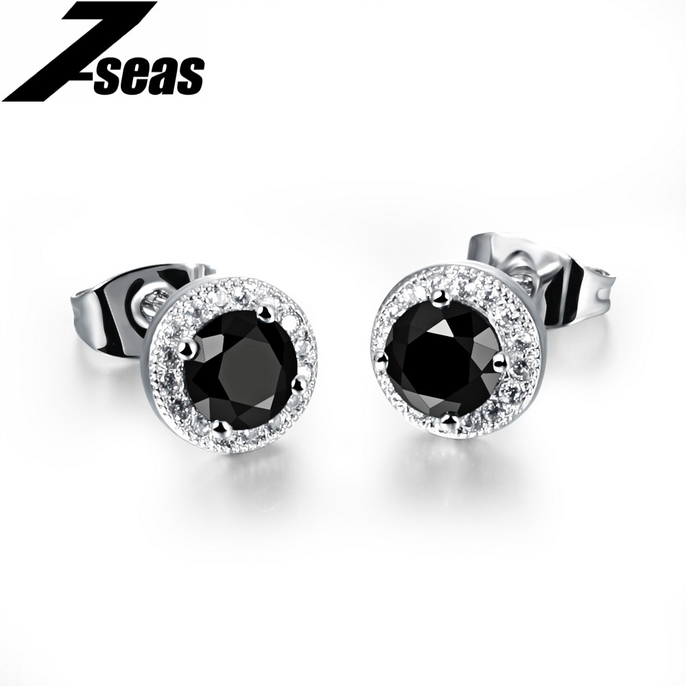 earrings color rm az onyx cz mens bling plated jewelry rhodium micro stud fashion kite pave black