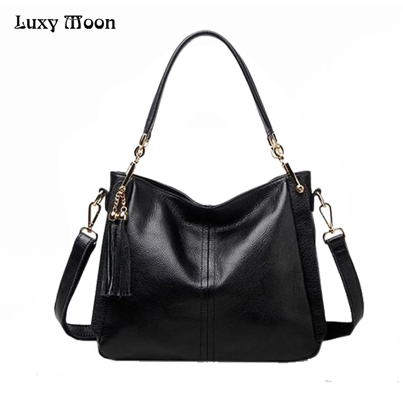Luxy Moon womens shoulder bag Genuine Leather Black Women Handbag Fashion cowhide Larger Tote Female Messenger Bag bolsos ZD694Luxy Moon womens shoulder bag Genuine Leather Black Women Handbag Fashion cowhide Larger Tote Female Messenger Bag bolsos ZD694