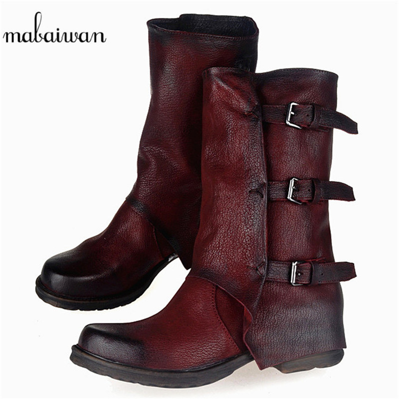 Mabaiwan Fashion Women Shoes Ankle Boots Women's Winter Snow Genuine Leather Martin Boots Flats Zapatos Mujer Retro Buckle Shoes women martin boots 2017 autumn winter punk style shoes female genuine leather rivet retro black buckle motorcycle ankle booties