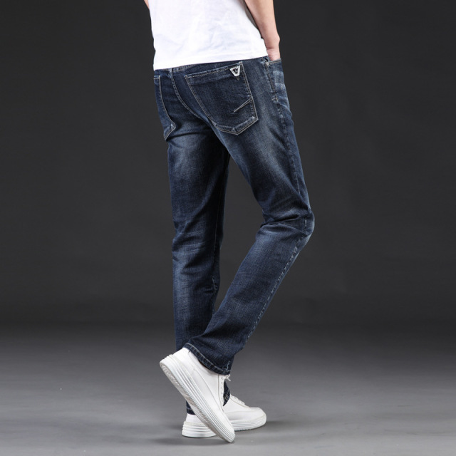 Icpans Denim Jeans Men Slim Casual Autumn Winter Jeans Men Stretch Straight Long Trousers Jeans for Men Size 40 42 44 46