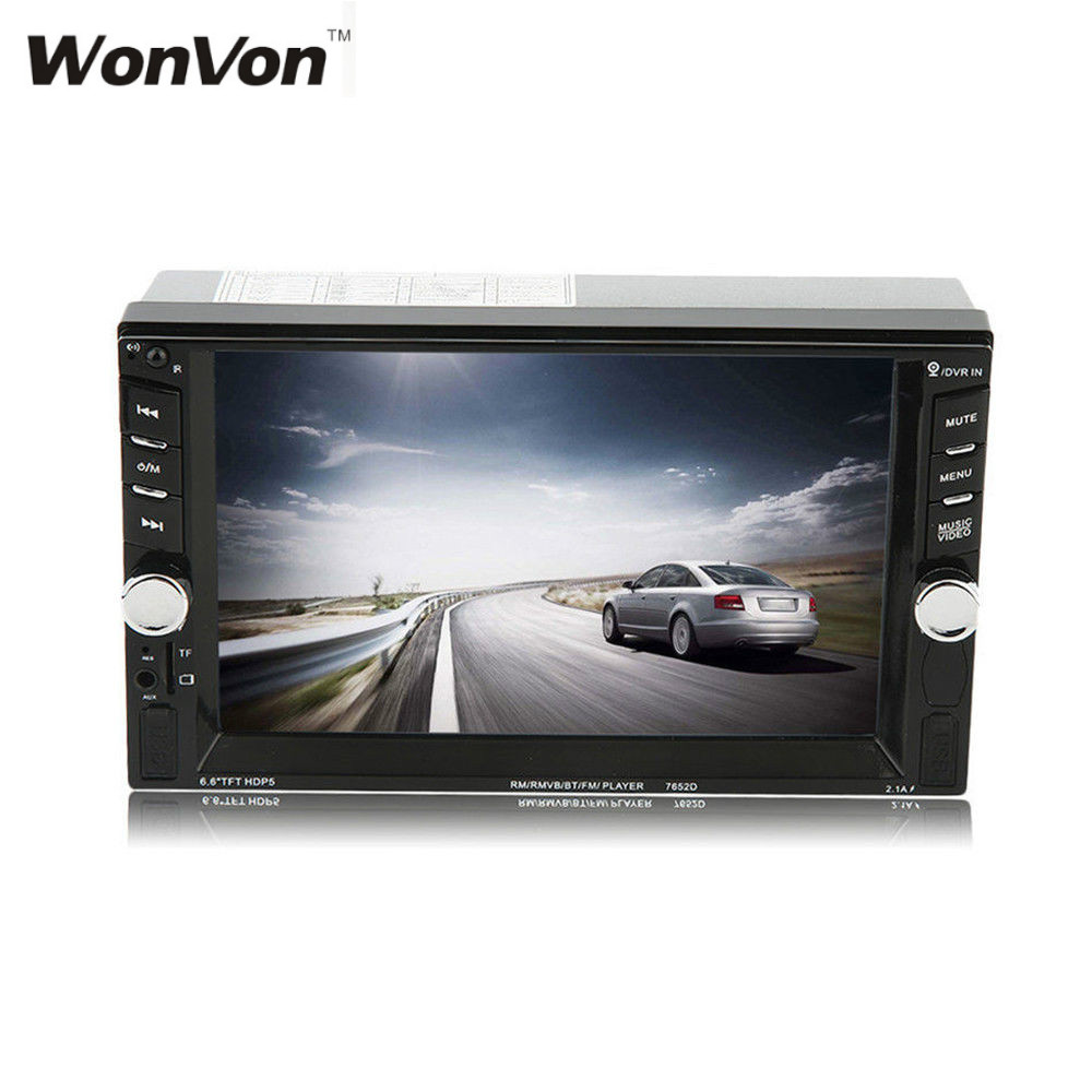 WONVON 7 inch 2 Din HD Car Radio MP5 Player Bluetooth with Digital Touch Screen 800*480 Support FM/TF Card up to 32GB 9 inch car headrest dvd player pillow universal digital screen zipper car monitor usb fm tv game ir remote free two headphones