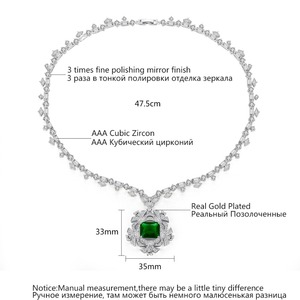 Image 3 - LUOTEEMI New Big Flower Pendant Necklace for Women for Wedding Party Luxury CZ Jewelry Red and Green Collar Mujer Christmas Gift