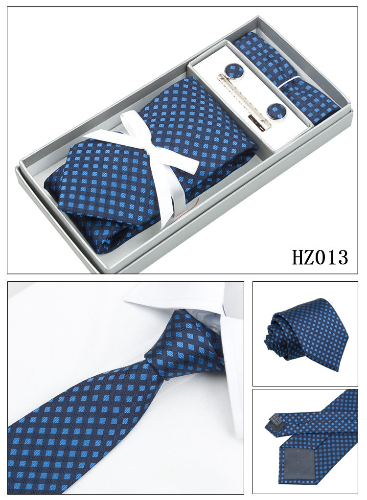 4M8-3 Navy Blue Set Ties Plaid