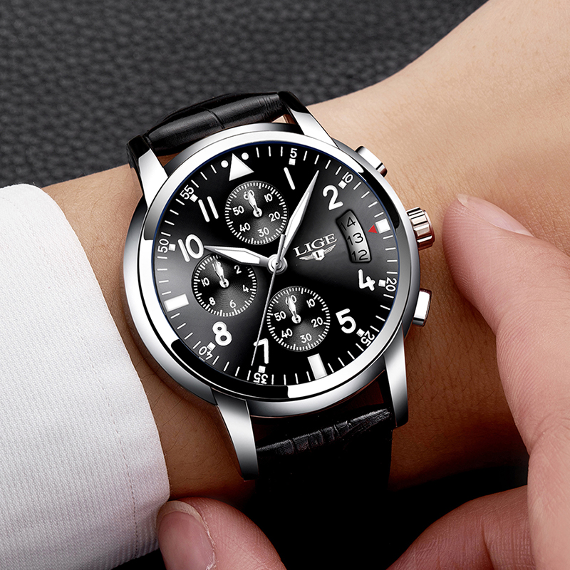 LIGE Men Casual Leather Business Clock Mens Watches Top Luxury Quartz Wrist Watch Men Sport Waterproof Chronograph Montre Homme