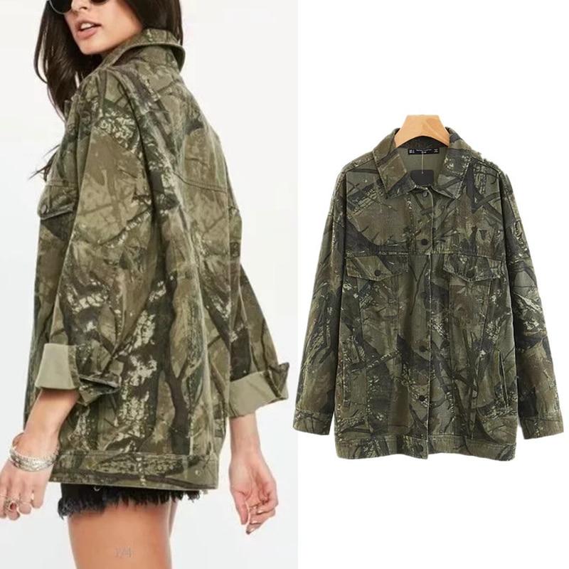 2019 Spring Women   Basic     Jackets   Plus Size Long Sleeved Camouflage Cotton Loose Bomber   Jacket   Coats Z513