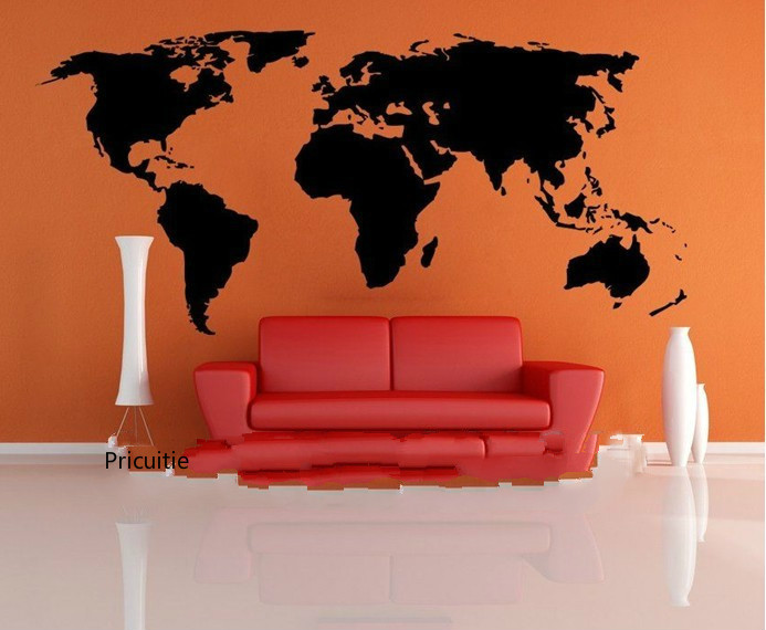 1 PCS 200x90cm Best Selling Big Global World Map Vinyl Wall Sticker Home decor wallpaper Creative Wall Decals image