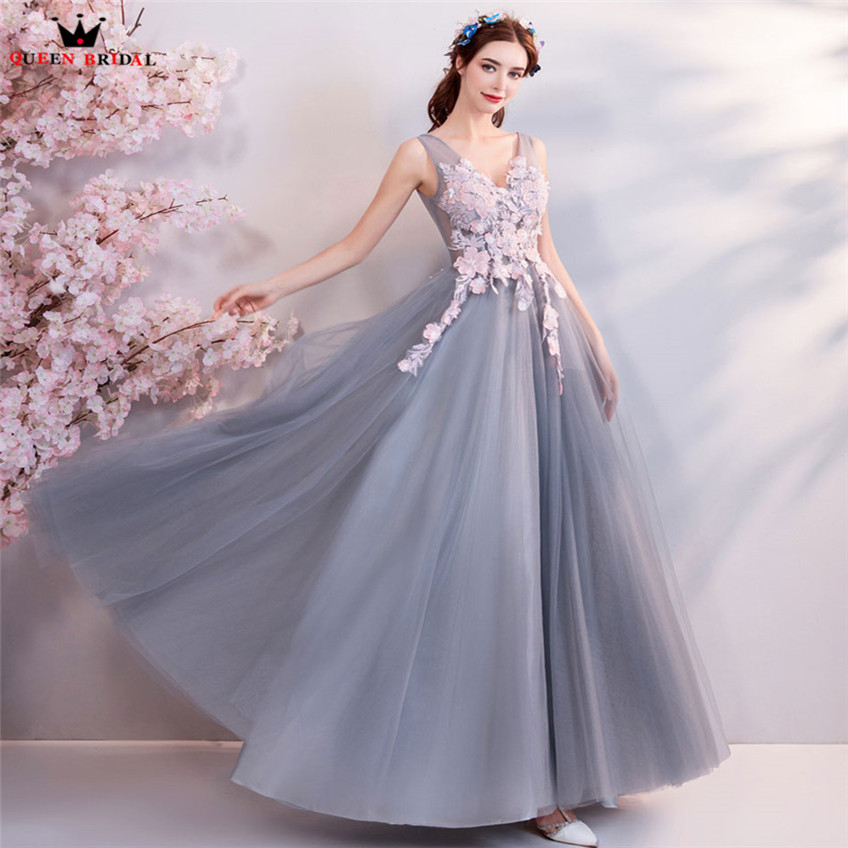 A-line V-neck Flowers Appliques Long Formal Elegant Gray Evening ...
