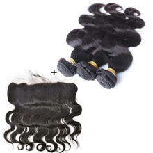 Indian Virgin Hair Weave Body Wave Customized Lace Frontal with Baby Hair Piece 13×4 ear to ear Lace Frontal Closure with Bundle
