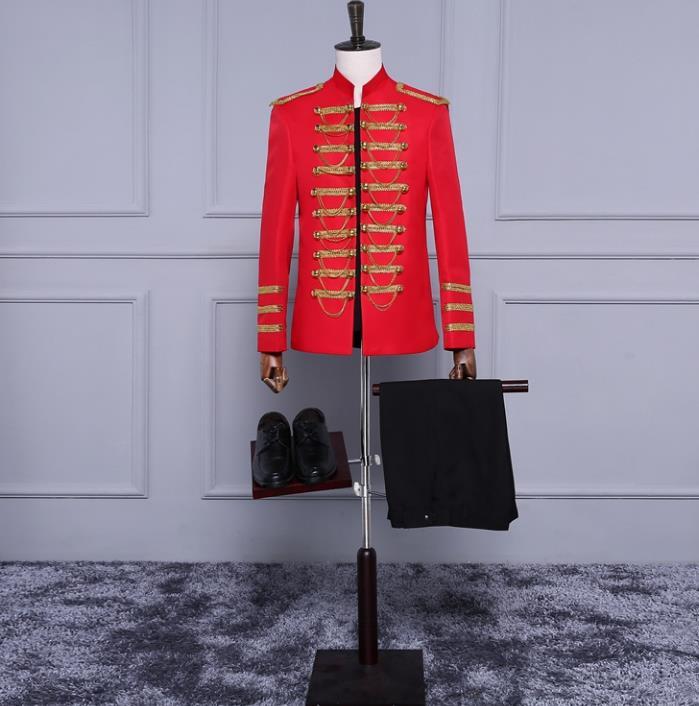 Pour Formelle Blazer Costume Hommes Breasted Homme Robe Noir Dernières Stand Pantalon Costumes Créations rouge Manteau Double Col De Européenne EXqZSw