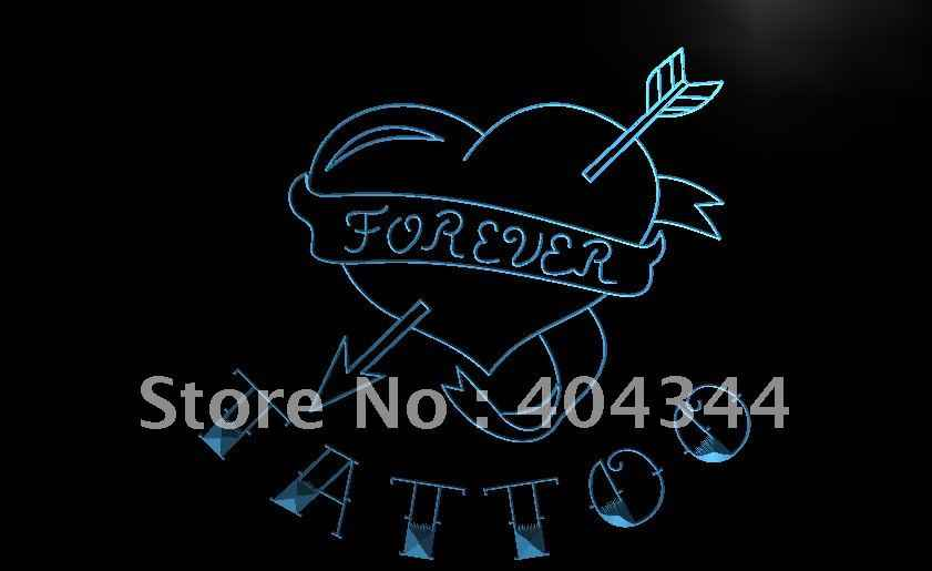 LB702- Tattoo Forever Heart Love Open LED Neon Light Sign