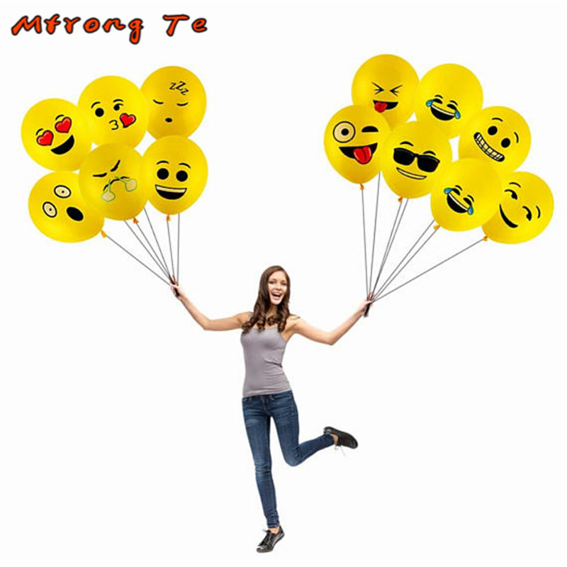 20pcs 12inch Emoji Latex Balloon Smile Face Kids Birthday Party Expression Helium Latex Decor Supplies Baby Shower Globos Toys