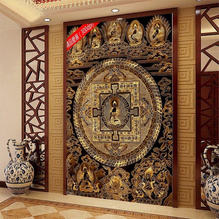 Custom 3d mural 3d wallpaper mural corridor tv background for Buddha mural wallpaper
