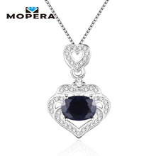 Mopera Sapphire Engagement Wedding Heart Pendant Necklaces 925 Sterling Silver Best Gift Necklace Chain For Women Fine Jewelry