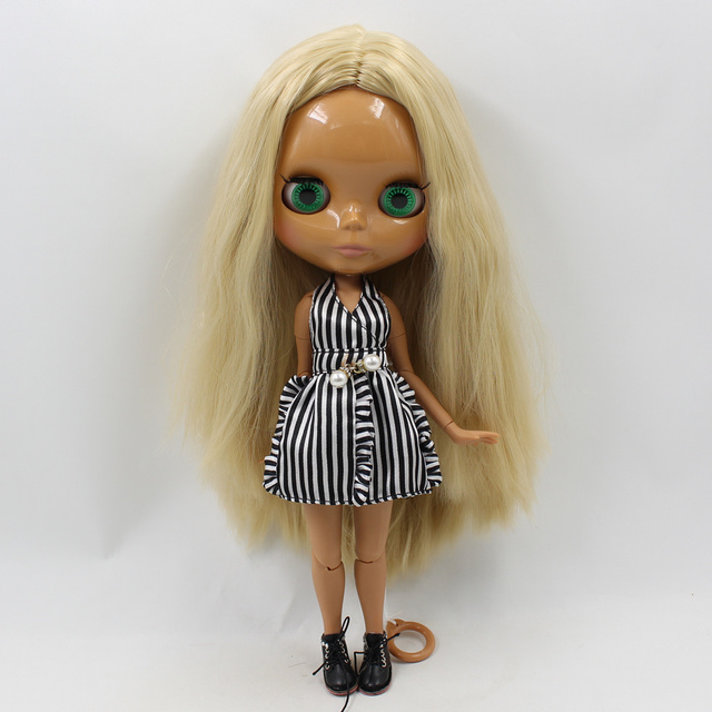 Special Price Blyth Joint body Nude Doll straight blond hair No bangs dark Skin 30cm Suitable For DIY No.538
