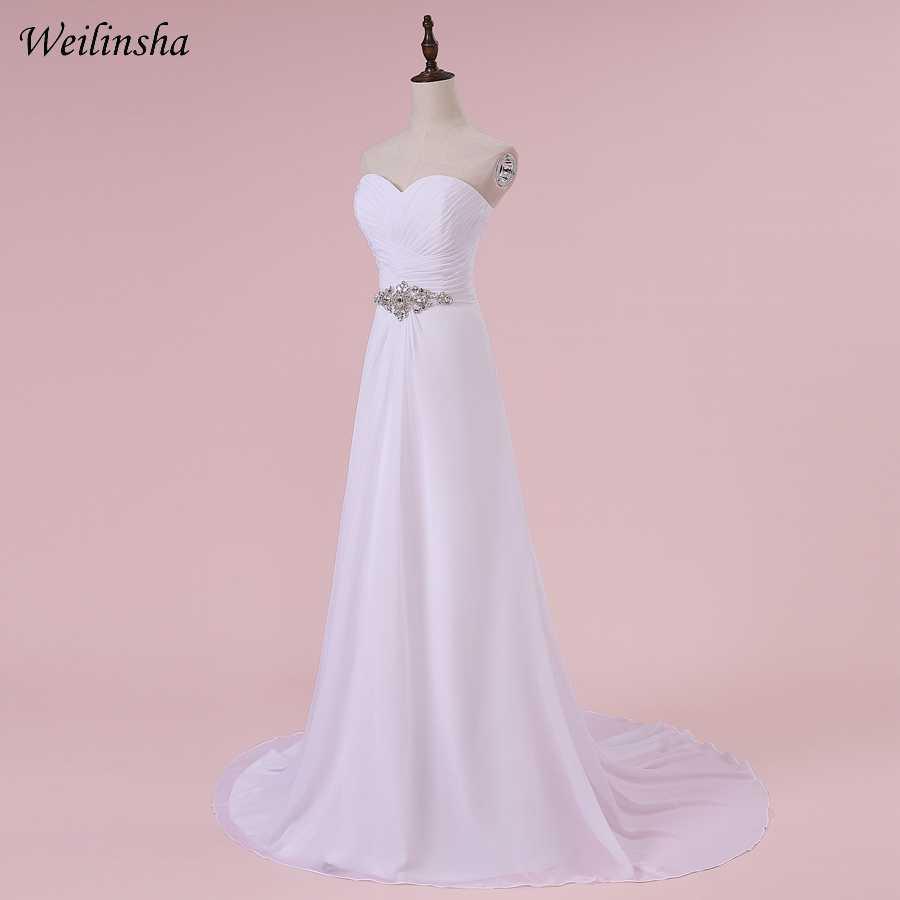 Weilinsha Romantic Sweetheart Wedding Dresses Chiffon A-line Pleats White/ Ivory Bridal Wedding Gowns Robe De Mariage In Stock