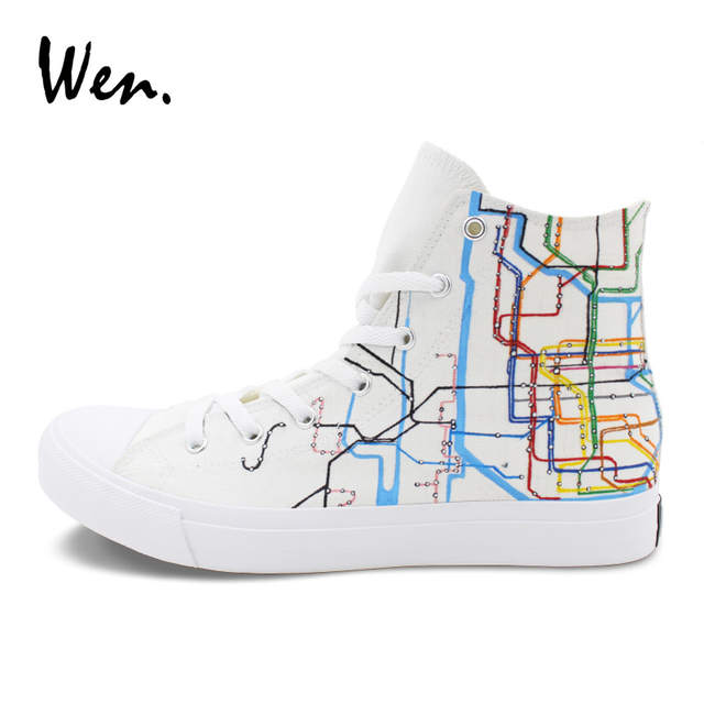 1268cc572cfae Online Shop Wen Men Women s Canvas Sneakers Painting New York City Map  Subway Route Hand Painted Shoes High Tops White Skate Flat