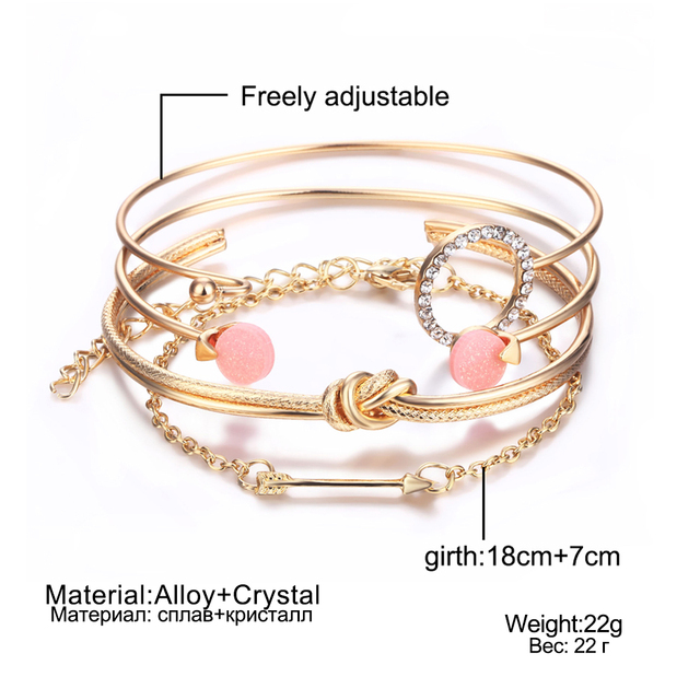 IPARAM 4 Pcs/ Set Vintage Gold Crystal Circle Arrow Bracelet for Women Bohemian Pink Opal Adjustable Charm Bracelet Jewelry Gift