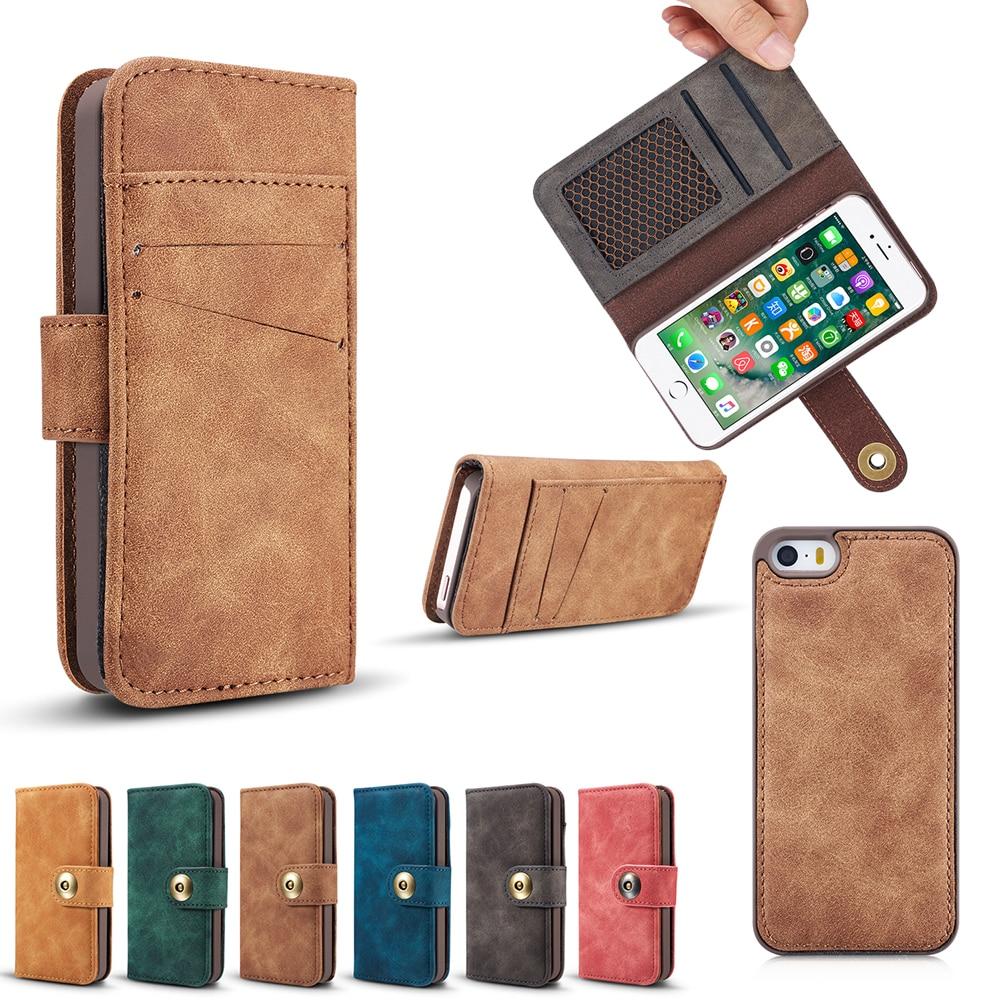 5S случае Магнит адсорбции Съемная Книга Бумажник для случая iPhone 5S Кожа магнитных флип чехол для iPhone 5 5S 6 7 Plus
