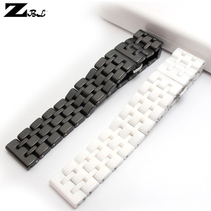 Image 4 - Pure Ceramic watchband watch band 17mm 20mm white black watch strap Butterfly Buckle wristband bracelet belt watch accessories