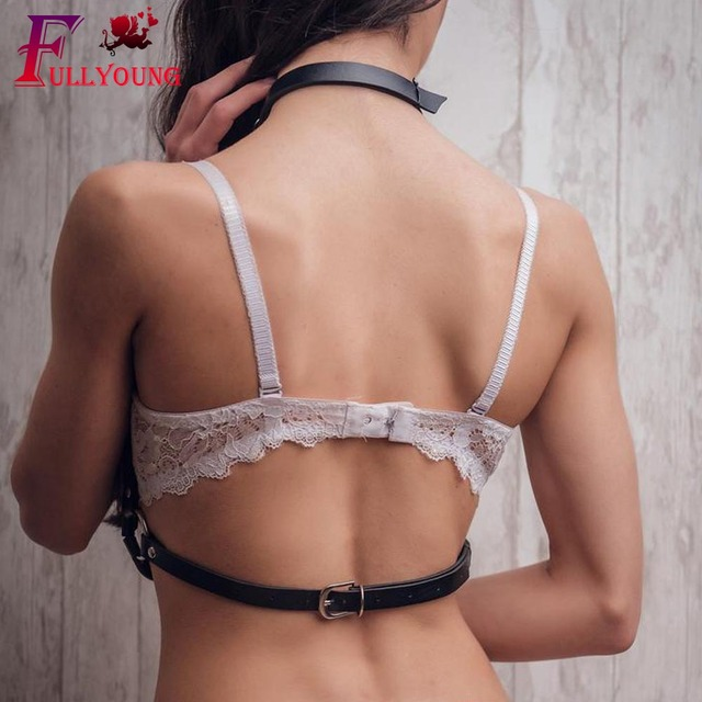 Fullyoung New Fshion Leather Harness Garters Sexy Chest Sculpting Body Waist Belt Punk Gothic Sexy Bra BODY Bondage PU Leather