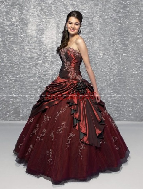 Real Sample Navy Burgundy Purple White Long Embroidery Princess Prom ...