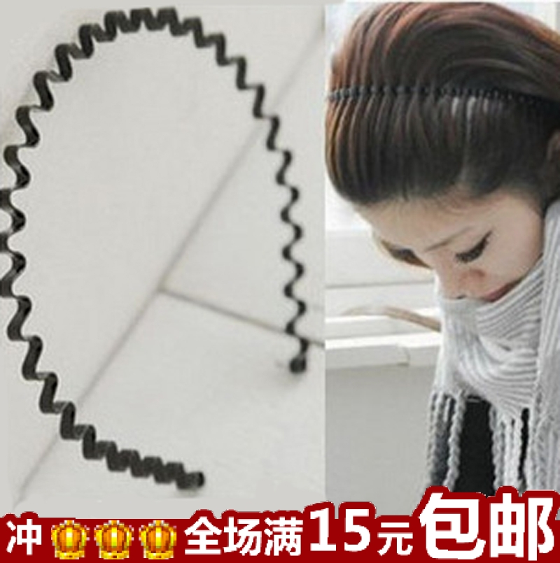 Wholesale 20pc South Korea Unisex hair hoop hoop iron tide wave and thick black ring pressure small jewelry wholesale