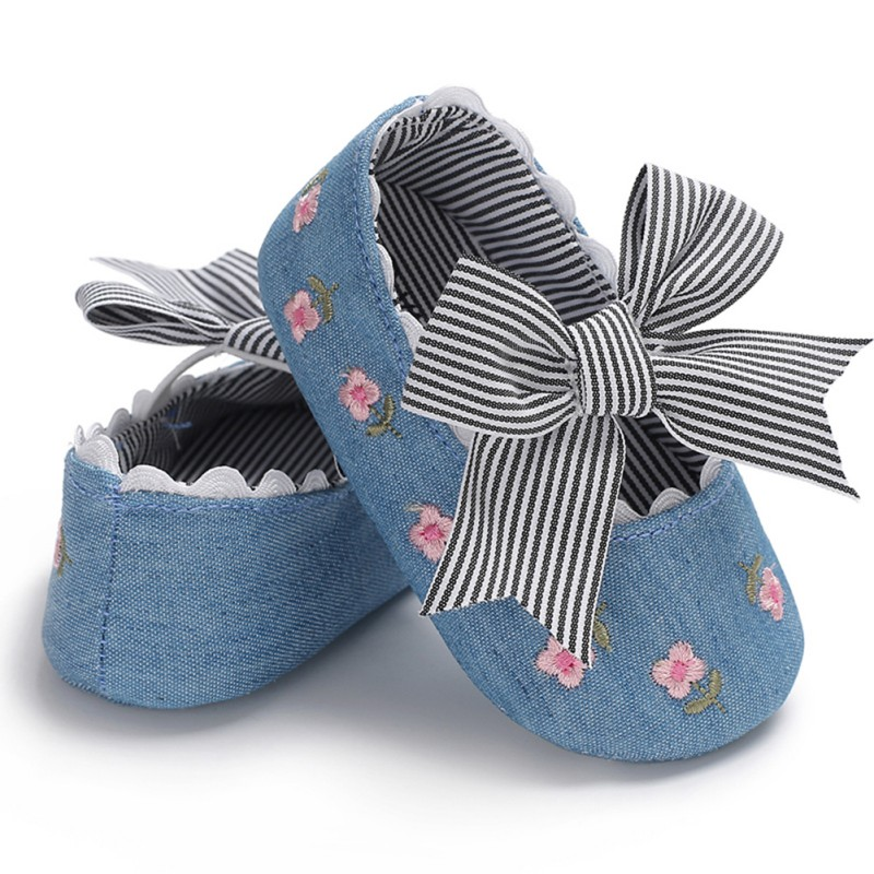 2019 Spring Embroidered Princess Shoes Big Bow Soft Sole High Quality Shoes Baby Girl