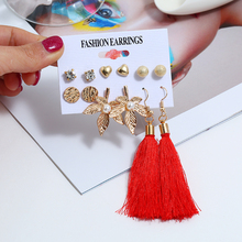 Bohopan 6Pairs/Set New Arrival Earrings Set Vintage Long Tassel For Women Fashion Classic Female Round Gold