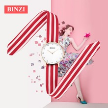 BINZI Casula Women Watches Ultrathin Quartz Watch Women Cloth Strap Red Blue Green Relogio Feminino
