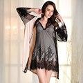 Promoción 2016 Nueva Fibra Extrafina Suave Transpirable Robe Pijamas Camisón de Mujer Sexy de Encaje Robe Sets Mujeres Elegantes Cardigansas