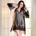 Promotion 2016 New Superfine Fiber Breathable Soft Robe+Nightgown Woman Pajamas Sexy Lace Robe Sets Elegant Women Cardigansas