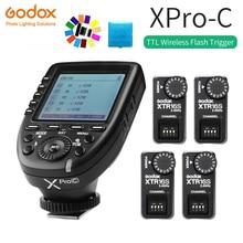 Godox XPro-C E-TTL II 2.4G Wireless X System HSS LCD Screen Transmitter + XTR-16S Receiver for Canon DSLR Godox V860C V850C godox xpro c flash trigger transmitter e ttl ii 2 4g wireless x system hss 2pcs xtr 16s receiver for canon for ving v860c v850c