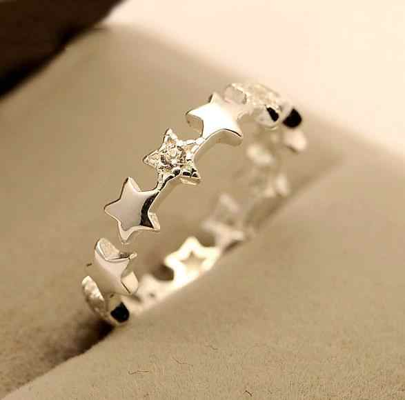 925 Sterling Silver Romantic Star Rings For Women Loves Wedding Ring CZ Sterling Silver Jewelry Bague Femme VRS2109