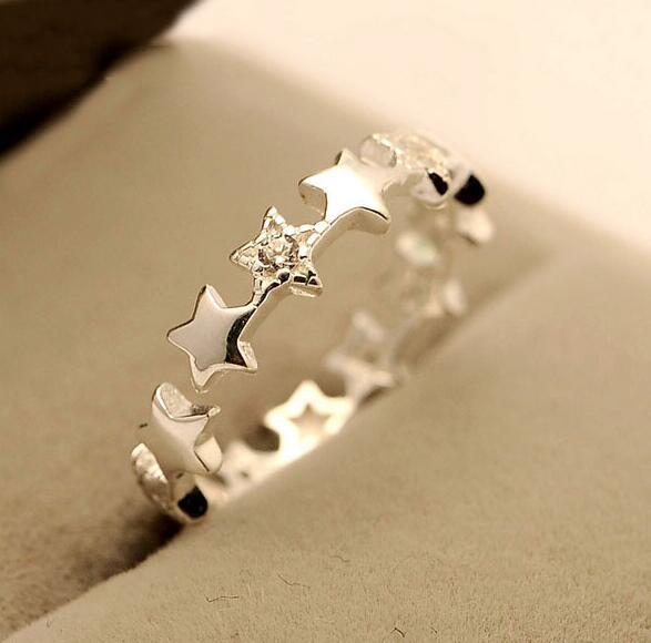 Anillos románticos de Plata de Ley 925 con forma de estrella para mujer, ama el anillo de boda, CZ, joyería de plata de ley, Bague Femme VRS2109