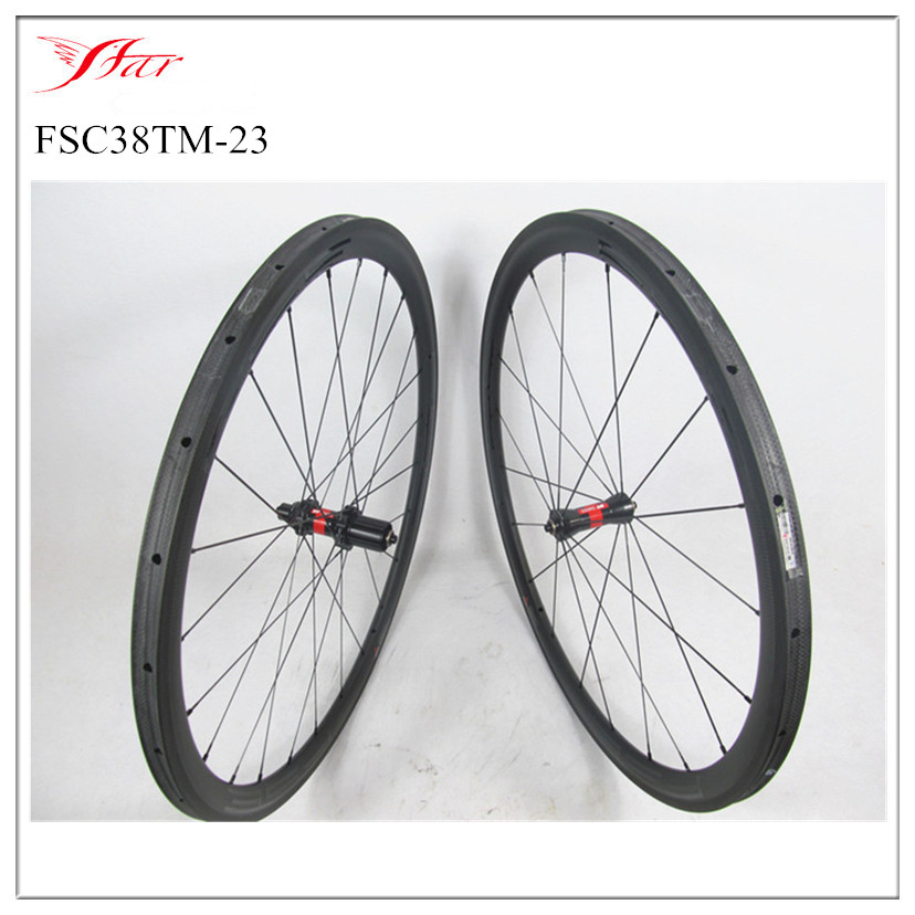 Farsports FSC38-TM-23 carbon cycling wheels 23mm 38mm tubular rims <font><b>DT</b></font> 240s <font><b>hubs</b></font> with Sapim cx-ray spokes , total 1189g per set