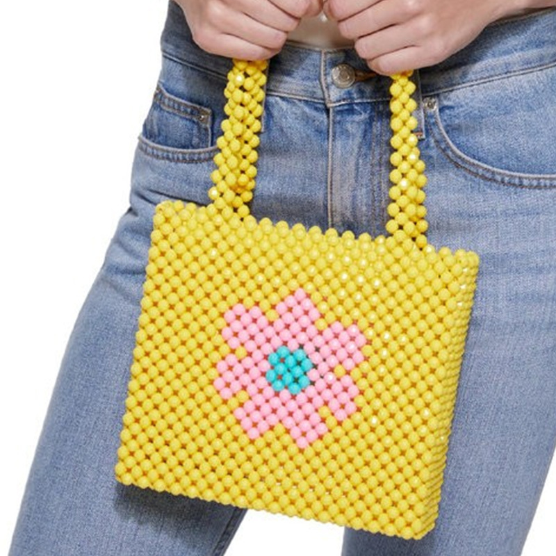 Ins Popular Bead Bag Rainbow Hand woven Pearl Celebrity Handbag Europe United States Unique Design Colourful Ladies Party Bag-in Top-Handle Bags from Luggage & Bags    2