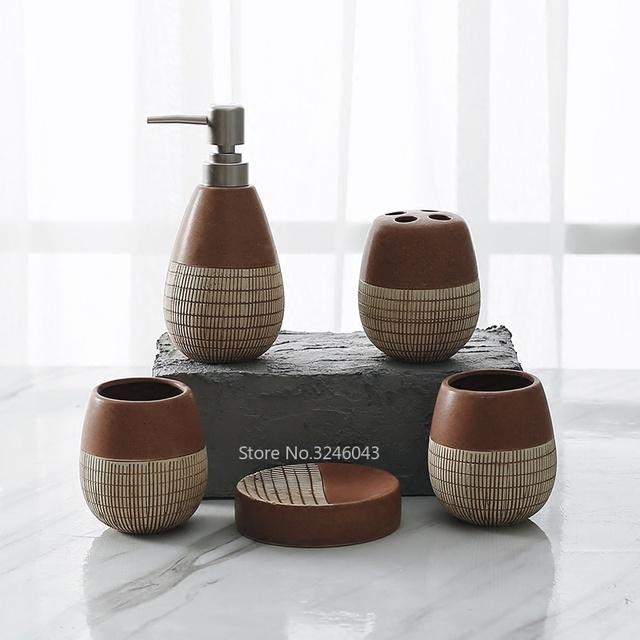 5pcs Porcelain Bathroom Set European Bathroom Ceramic Liquid Soap Dispenser Porcelain Soap Toothbrush Holder Home Decoration