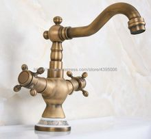 Antique Brass Double Handle Deck mounted kitchen faucet Bathroom basin faucet sink Faucet Mixer Tap Bnf604 pull out sprayer bathroom basin faucet mixer tap ceremic handle deck mounted antique brass