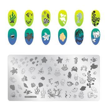 1 Uds. Plantilla de estampado rectangular para uñas de 12,5x6,5 cm con diseño de pulpo y estrellas de mar, placa de sello para manicura SPV03