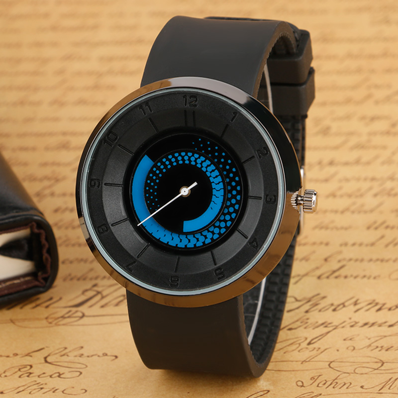 2017 Hot Selling Watches Blue Rotation Dial Black Rubber Band Strap Wrist Watch Special Design whirl Pattern For Men Student creative rotation dial black rubber band strap men quartz wrist watch fashion business style turntabble pattern women male watch